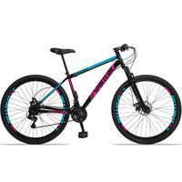 Bicicleta Aro 29 Spaceline Moon 21v Suspensão E Freio Disco - Preto/azul E Rosa - 17''