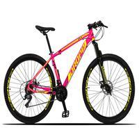 Bicicleta Aro 29 Dropp Z3x 21v Suspensão E Freio Disco - Rosa/amarelo - 19''