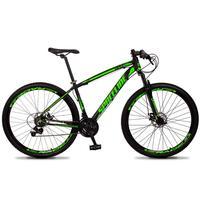 Bicicleta Aro 29 Spaceline Vega 21v Suspensão E Freio Disco - Preto/verde - 15''