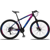 Bicicleta Aro 29 Dropp Z3 21v Shimano, Suspensão Freio Disco - Preto/azul E Rosa - 19''