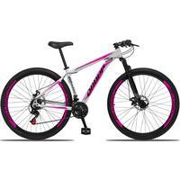 Bicicleta Aro 29 Dropp Aluminum 21v Suspensão, Freio A Disco - Branco/rosa E Preto - 15