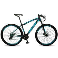 Bicicleta Aro 29 Spaceline Vega 21v Suspensão E Freio Disco - Preto/azul - 21''