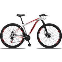 Bicicleta Aro 29 Dropp Aluminum 21v Suspensão, Freio A Disco - Branco/vermelho E Preto - 19