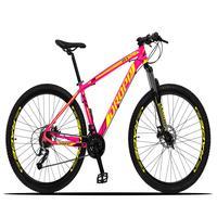 Bicicleta Aro 29 Dropp Z3x 27v Suspensão E Freio Hidraulico - Rosa/amarelo - 19´´ - 19´´