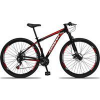 Bicicleta Aro 29 Dropp Aluminum 21v Suspensão, Freio A Disco - Preto/vermelho E Branco - 17