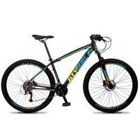 Bicicleta Aro 29 Gt Sprint Volcon 27v Susp E Freio Hidraulic - Preto/azul E Amarelo - 19''