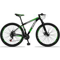 Bicicleta Aro 29 Gt Sprint Mx1 21v Suspensão E Freio A Disco - Preto/verde E Branco - 21´´ - 21´´