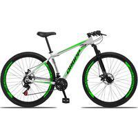 Bicicleta Aro 29 Dropp Aluminum 21v Suspensão, Freio A Disco - Branco/verde E Preto - 21