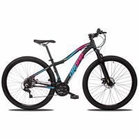 Bicicleta Aro 29 Dropp Flower 21v Suspensão E Freio A Disco - Preto/azul E Rosa - 17