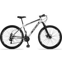 Bicicleta Aro 29 Spaceline Moon 21v Suspensão E Freio Disco - Branco/preto - 17''