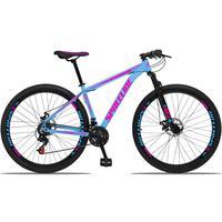 Bicicleta Aro 29 Spaceline Orion 21v Suspensão Freio A Disco - Azul/rosa - 19