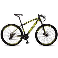 Bicicleta Aro 29 Spaceline Vega 21v Suspensão E Freio Disco - Preto/amarelo - 19''