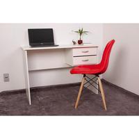 Kit Escrivaninha Com Gaveteiro Branca e 01 Cadeira Eiffel Botonê - Vermelha