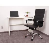 Kit Escrivaninha Com Gaveteiro Branca + 01 Cadeira Esteirinha - Preta