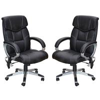 Kit 2 Cadeira De Escritório Home Office Ceuta Giratória Com Massagem Pu Sintético Preta - Gran Belo