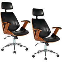 Kit 02 Cadeiras De Escritório Presidente Giratória, Pu Sintético, Preto - Gran Belo