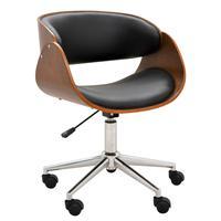 Cadeira Escritório Office Oga Base Giratória Cromada Pu Sintético Preta - Gran Belo