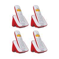 Kit Telefone Sem Fio + 3 Ramais Ts 3110 Branco E Vermelho - Intelbras