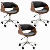 Kit 03 Cadeiras Escritório Office Oga Base Giratória Cromada Pu Sintético Preta - Gran Belo