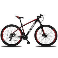 """Bicicleta Aro 29 Ksw 21 Marchas Freios A Disco, K7 e Suspensão Cor: Preto/Vermelho e Branco, Tamanho Do Quadro:19"""" - 19"""""""