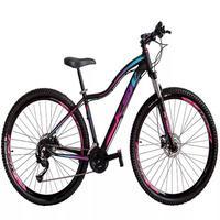 """Bicicleta Aro 29 Ksw 24 Marchas, Freio Hidráulico, Trava E K7, Cor: preto/rosa E Azul, Tamanho Do Quadro: 15"""""""