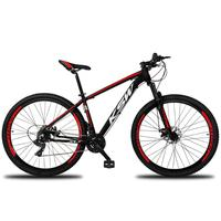 """Bicicleta Aro 29 Ksw 24 Marchas Freios A Disco C/trava E K7 Cor:preto/vermelho E Brancotamanho Do Quadro:19"""" - 19"""""""