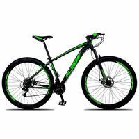 Bicicleta Aro 29 Ksw 24 Marchas Shimano, Freios A Disco E K7 preto/verde tamanho Do Quadro 21''