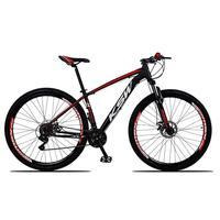 """Bicicleta Aro 29 Ksw 21 Vel Shimano Freios Disco E Trava/k7 Cor: Preto/Vermelho E Branco, Tamanho Do Quadro:17"""" - 17"""""""