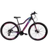 Bicicleta Aro 29 Ksw 24 Marchas Freios A Disco E Suspensão Cor: preto/rosa E Azul tamanho Do Quadro:17  - 17