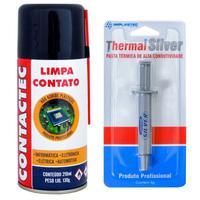 Kit Spray Limpa Contato 130g e Pasta Térmica Prata Implastec