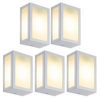 Luminária De Parede Retangular Branco Kit Com 5