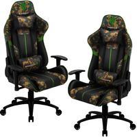 Kit 02 Cadeiras Gamer Office Giratória Com Elevação A Gás Bc3 Camuflado Verde Military - Thunderx3